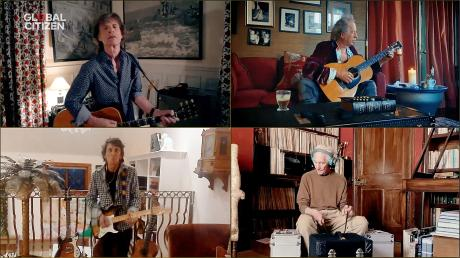 Die Rolling Stones in ihren Villen, nur auf dem Bildschirm vereint (im Uhrzeigersinn): Mick Jagger in Los Angeles, Keith Richards in Sussex, Charlie Watts in Devon, Ronnie Wood in Surrey.