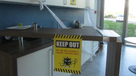 Auch Sozialräume sind bei Wanzl abgesperrt, um die Ansteckungsgefahr zu minimieren.