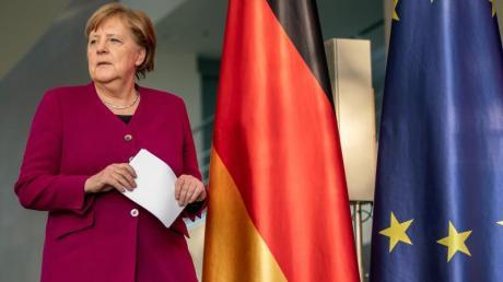 Bundeskanzlerin Merkel bei einer Pressekonferenz nach dem EU-Videogipfel.