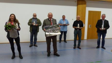 Sie sind nicht mehr Teil des Gemeinderats: (von links nach rechts) Anja Klein, Norbert Wuddel, Bürgermeister Josef Schwegler, Gerhard Kinzel, Berthold Schmitt und Hubert Wachinger.