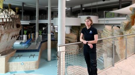 Chefin eines leeren Bades: Jana Freymann hofft auf eine baldige Wiedereröffnung des Titania in Neusäß.
