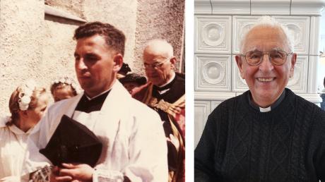 Jakob Zeitlmeir 1960 als neu geweihter Priester beim Einzug in die Anwaltinger Kirche und im Juni 2019.