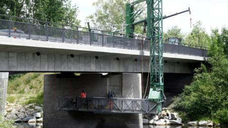 An der Lechbrücke bei Thierhaupten wird gebaut.