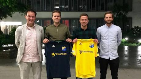 Dieses Erfolgsquartett ist in Pipinsried Geschichte: von links der frühere Geschäftsführer Uli Bergmann, die beiden scheidenden Spielertrainer Fabian Hürzeler und  Muriz Salemovic und der Ex-Manger Roman Plesche.
