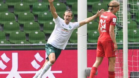Werders Niclas Füllkrug jubelt nach seinem Tor zum 3:0 gegen den FC Köln.