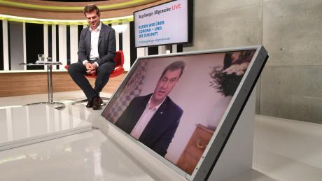 Ministerpräsident Markus Söder im Gespräch mit Chefredakteur Gregor Peter Schmitz.