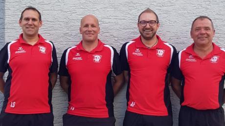 Die Führung der Balzhauser Fußballer: (von links) Stephan Leitenmaier (1. Abteilungsleiter), Thomas Vogel (Trainer 1. Mannschaft), Andreas Forster (Trainer 2. Mannschaft), Günter Hartmann (2. Abteilungsleiter).