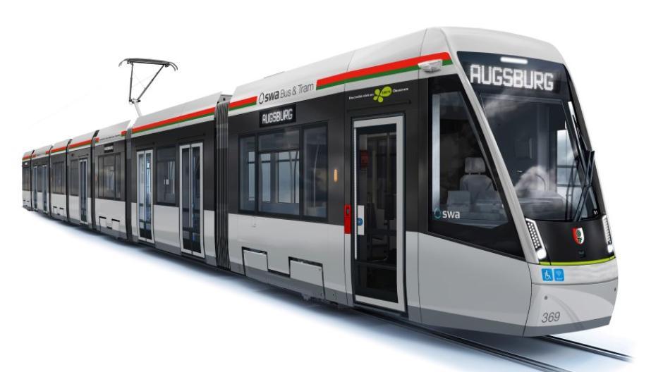 Die Illustration zeigt die Lackierung der neuen Straßenbahnen mit Streifen in den Stadtfarben. Die elf neuen Züge kommen 2022, die bestehenden Trams behalten ihre Lackierung.