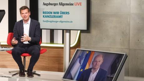 """SPD-Kanzlerkandidat Olaf Scholz stellte sich in """"Augsburger Allgemeine Live"""" den Fragen von Chefredakteur Gregor Peter Schmitz."""