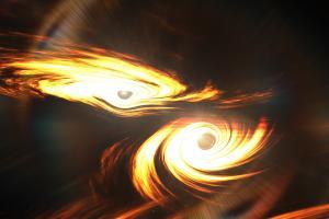 Diese künstlerische Darstellung visualisiert zwei Schwarze Löcher vor ihrer Kollision. Forscher haben Gravitationswellen von der bislang massereichsten Verschmelzung Schwarzer Löcher beobachtet. Die Observatorien Ligo in den USA und Virgo in Italien registrierten am 21. Mai 2019 die Gravitationswellen vom Crash zweier Schwarzer Löcher mit rund 66 und 85 Mal so viel Masse wie unsere Sonne.