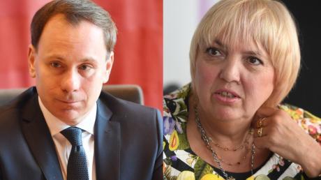 Die Augsburger Bundestagsabgeordneten Volker Ullrich (CSU) und Claudia Roth (Grüne) sind offenbar geteilter Meinung.