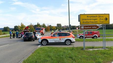 Auf Höhe von Kleinanhausen hat sich am Freitagvormittag an der Abzweigung nach Unterknöringen ein Unfall ereignet.