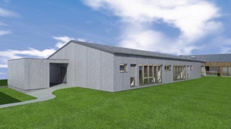 So sieht der Entwurf für die Erweiterung des Haus des Kindes St. Ulrich in Hollenbach aus. Architekt Anton Haberl aus Rehling erntete dafür Beifall im Gemeinderat.