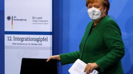 Bundeskanzlerin Angela Merkel beim Integrationsgipfel im Kanzleramt.