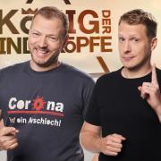 """""""Der König der Kindsköpfe"""" 2020 ist bald auf RTL zu sehen. Alles zur Übertragung live im TV und Stream - hier. Von links: Chris Tall, Mario Barth, Oliver Pocher."""