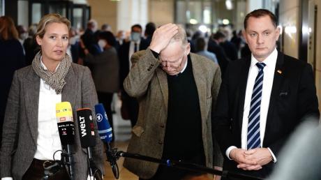 Entschuldigten sich  später für die aufdringlichen Auftritte von Gästen, die von AfD-Politikern ins Parlamentsgebäude gelotst worden waren: Die Fraktionsvorsitzenden Alice Weidel und Alexander Gauland - hier im Bild mit dem Parteivorsitzenden Tino Chupalla.