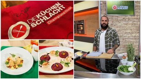 """Daniel Bürger, Eventmanager aus Ulm, kocht im ZDF bei der TV-Sendung """"Die Küchenschlacht"""" im Fnale der Champions League."""