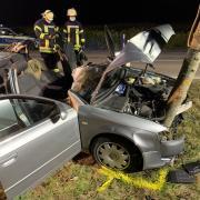 Polizei und Feuerwehr sind im Einsatz, nachdem ein 33-Jähriger gegen einen Baum geprallt ist.
