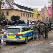 Einsatzkräfte der Polizei am Ulmer Kuhberg.