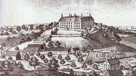 Auf diesem Kupferstich von Michael Wening von 1701 ist Schloss Gumppenberg zu sehen.