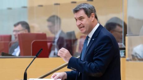 Bayerns Ministerpräsident Markus Söder (CSU) bei seiner Regierungserklärung im Landtag.