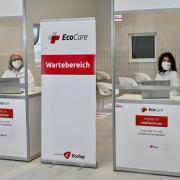 Der Anmeldebereich des Covid 19-Impfzentrums für den Landkreis Augsburg in Gablingen.