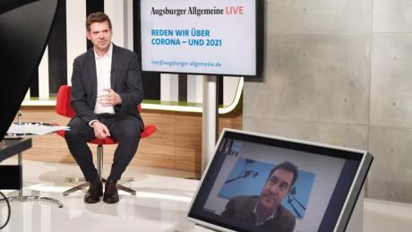 Live-Journalismus in Corona-Zeiten: Chefredakteur Gregor Peter Schmitz im Gespräch mit dem zugeschalteten bayerischen Ministerpräsidenten Markus Söder.