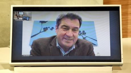 Per Video zugeschaltet: Bayerns Ministerpräsident Markus Söder.