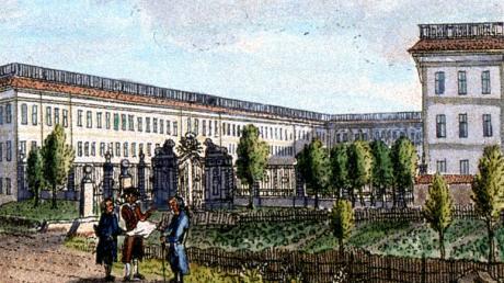 Das Schüle'sche Fabrikschloss im Jahr 1795. Das schmiedeeiserne Gitter des Fabrikhofs befindet sich am Fronhof.
