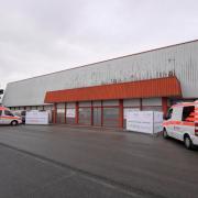 21.12.2020, Pressetag im Unterallgäuer Corona-Impfzentrum  in Bad Wörishofen, im ehemaligen Möbelhaus im Gewerbegebiet. Eingangsbereich.