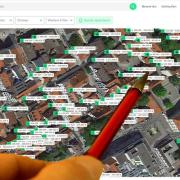 Screenshot der Immobilienplattform Scoperty von bewerteten Wohnungen und Häusern in Günzburg. Scoperty bezeichnet sich als digitalen Marktplatz, der den Immobilienmarkt in Deuschland transparenter machen will.