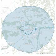 Im Landkreis Donau-Ries gilt aktuell die 15 KM-Radius-Regel. Am Beispiel Donauwörth kann man sehen, wie weit man für Tagesousflüge noch fahren dürfte.