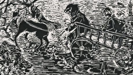 Der sogenannte Eschachgore auf wilder Fahrt: Ein Holzschnitt zur Sage von Alfred Drießle.