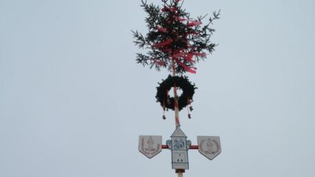 In Wehringen steht jetzt ein Narrenbaum: Er erinnert an den Fasching. Der Smiley auf dem Banner sagt es deutlich: Er vergießt eine Träne, weil der Wehringer Faschingsumzug abgesagt wird.