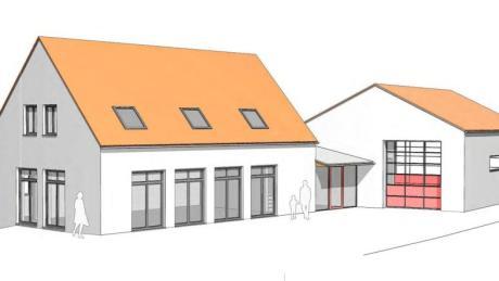 So soll das künftige Dorfgemeinschaftshaus im Mickhauser Ortsteil Münster aussehen. Rechts die umgebaute bestehende Fahrzeughalle der Freiwilligen Feuerwehr. Die Ansicht zeigt den Blick auf Nord/Westen.
