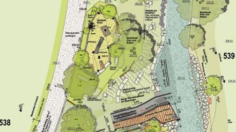 Dieser Ausschnitt aus dem Entwurf des Planers zeigt, wie der Zugang zur Neufnach westlich vom Rathaus künftig aussehen wird.