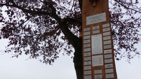 Seit Kurzem verrät dieses mit Namen und Wünschen versehene Holzpaneel, wer im Oktober 2020 an der Bepflanzung des Elendwegs in Baar mitgewirkt hat.