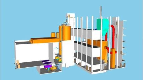 Diese Computeranimation zeigt den Aufbau der geplanten Klärschlamm-Monoverbrennungsanlage im Industriepark Gersthofen. Wenn sie fertig ist, wird sie eingehaust, sodass von außen vom Aufbau kaum etwas zu erkennen ist.