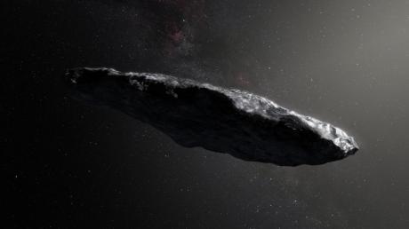 """Diese künstlerische Darstellung zeigt den Asteroiden """"Oumuamua"""" (Hawaiianisch für """"Kundschafter) aus dem Oktober 2017. Es ist als das erste innerhalb des Sonnensystems beobachtete Objekt, das als interstellar klassifiziert wurde."""
