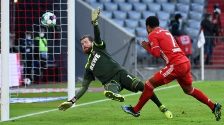 Doppeltorschütze Serge Gnabry (r) erzielt das Tor zum 5:1 gegen Kölns Torwart Timo Horn.