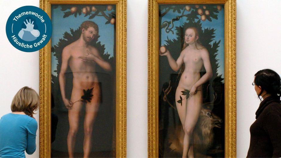 """Frauen sind Männern untergeordnet. So steht es auch in der Bibel. Hier das Gemälde """"Adam und Eva"""" von Lucas Cranach dem Älteren."""