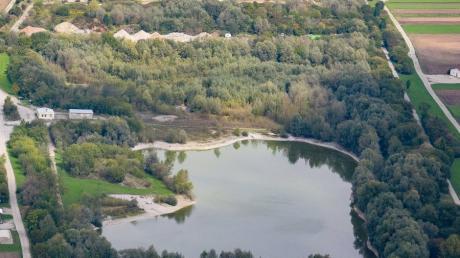 Im Biotop zwischen Kiesgrube (oberer Bildrand) und Freizeitsee in Graben werden die wuchernden Weiden beschnitten, mit Wasser gefüllte Mulden sollen eine neue Heimat für Amphibien werden.