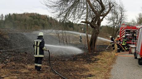 Mit zwei Löschfahrzeugen waren die Aktiven der Feuerwehr Kellmünz am Samstagnachmittag am Bahndamm südlich von Kellmünz im Einsatz, um den nunmehr vierten Flächenbrand zu löschen, der laut Polizei eindeutig auf Brandstiftung zurückzuführen ist.
