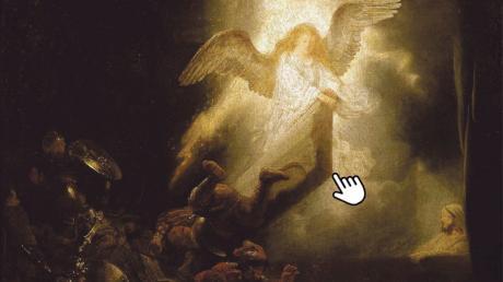 """Das Licht siegt über das Dunkel des Todes: Rembrandts """"Die Auferstehung Christi"""" aus dem Jahr 1639 – mit digitaler Verfremdung."""