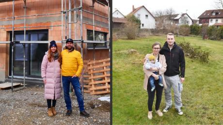 Katharina und ihr Mann Stefan Raab (links) wollen im Sommer in ihr Haus einziehen. Anja, Jürgen und Jakob Bohnenschuh wollen im Herbst mit dem Bau beginnen.