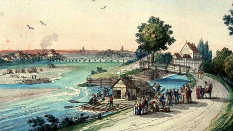 1819: Abfahrt eines Ordiniari-Floßes nach Wien an der Floßlände bei Lechhausen. Ein Holzhäuschen bot den einzigen Komfort für die Passagiere.