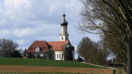 """In der Wallfahrtskirche St. Jakobus, St. Laurentius und zum Heiligen Kreuz in Biberbach befindet sich das """"Herrgöttle""""."""
