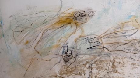 Ein Beispiel für die Kunstwand in Hochzoll gibt Künstlerin Inge Lemmerz mit ihrem Insektenbild.