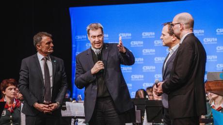 Markus Söder wird wohl nicht Kanzlerkandidat von CDU und CSU. Unser Bild zeigt ihn (von links) zusammen mit dem damaligen Oberbürgermeister Mathias Neuner, Landrat Thomas Eichinger und dem Bundestagsabgeordneten Michael Kießling im Februar 2020 in Landsberg.