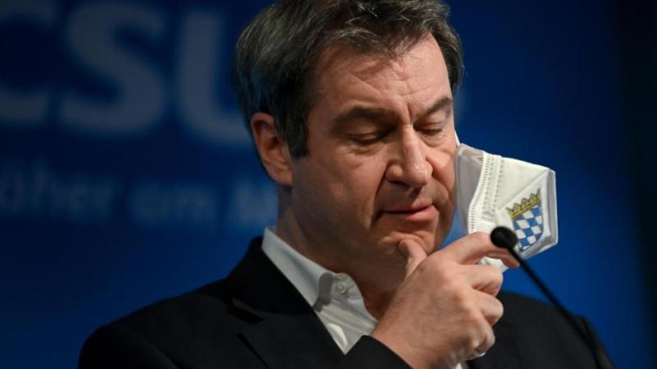 Markus Söder am Dienstag, als er seine Niederlage im Rennen um die Kanzlerkandidatur einräumt.